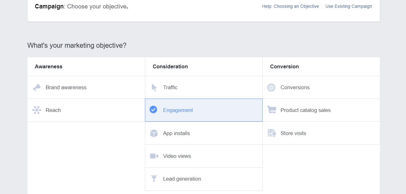 establishing an objective for your facebook ads campaign