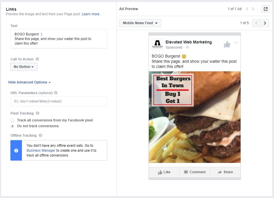 text copy and links for example facebook advertisement